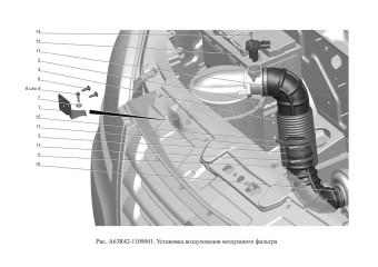 A63R42-1109001 Установка воздуховодов воздушного фильтра