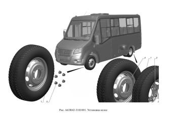 A63R42-3101001 Установка колес