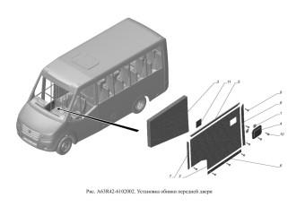 A63R42-6102002 Установка обивки передней двери опция Кондиционер, Обивка салона улучшенная