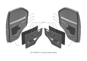 2217-6102002-10 Установка обивки двери опция Электропривод наружных зеркал и электрические стеклоподъемники