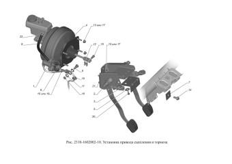 2310-1602002-10 Установка привода сцепления и тормоза