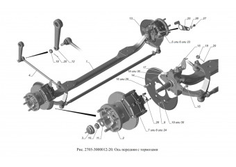 2705-3000012-20 Ось передняя с тормозами опция Тормозная система с АБС