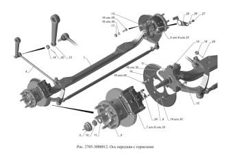 2705-3000012 Ось передняя с тормозами