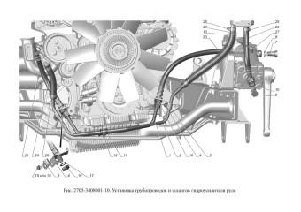 2705-3408001-10 Установка трубопроводов и шлангов гидроусилителя руля
