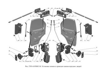 2705-6105002-30 Установка замков и приводов замков передних дверей опция Центральный замок