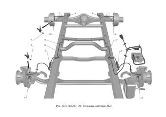 3221-3862001-20 Установка датчиков АБС опция Тормозная система с АБС