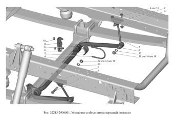 32213-2906001 Установка стабилизатора передней подвески опция Стабилизатор передней подвески