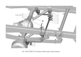 3302-2916001-01 Установка стабилизатора задней подвески опция Стабилизатор задней подвески