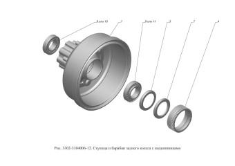 Рис.3302-3104006-12  Ступица и барабан заднего колеса с подшипниками