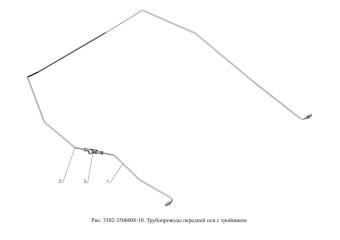Рис.3302-3506008-10.Трубопроводы передней оси с тройником