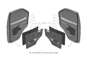 3302-6102002-40 Установка обивок дверей опция Электропривод наружных зеркал заднего вида