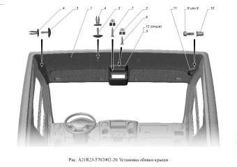 A21R23-5702002-20 Установка обивки крыши опция Тахограф-стандарт