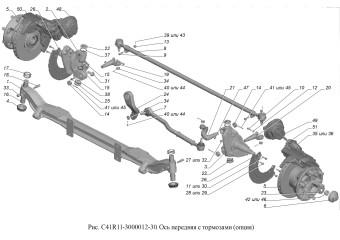 С41R11-3000012-30 Ось передняя с тормозами опция Колеса 19,5'