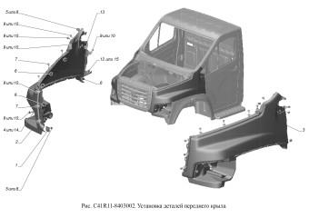 С41R11-8403002 Установка деталей переднего крыла