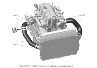 С41R13-1173001 Установка трубопроводов охладителя наддува