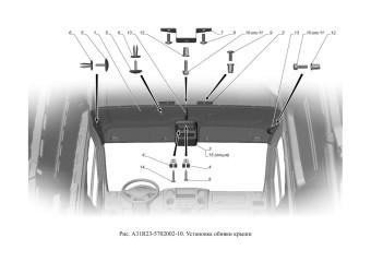 A31R23-5702002-10 Установка обивки крыши опция Консоль потолочная