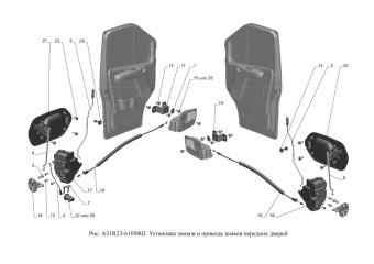 A31R23-6105002 Установка замков и приводов замков передних дверей