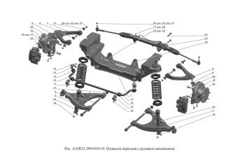 A32R32-2901010-10 Подвеска передняя с рулевым механизмом