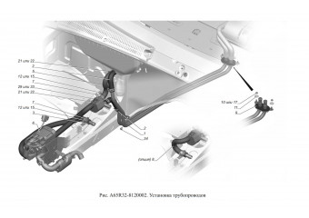 A65R32-8120002 Установка трубопроводов