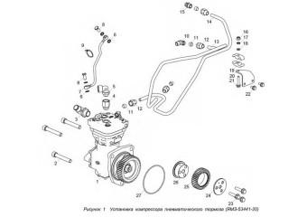 5344.3509005-20 Установка компрессора пневматического тормоза